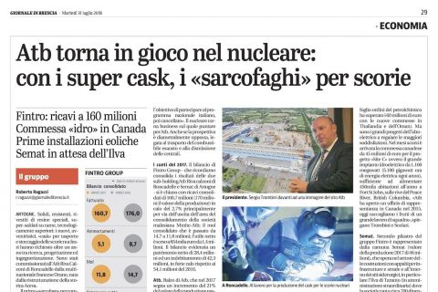 Nuclear sector: ATB Riva Calzoni gets back in the game with the cask