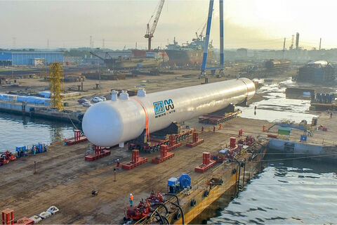 Rapid Project Bullet Tanks F load out, the biggest equipment ever fabricated by MMHE-ATB